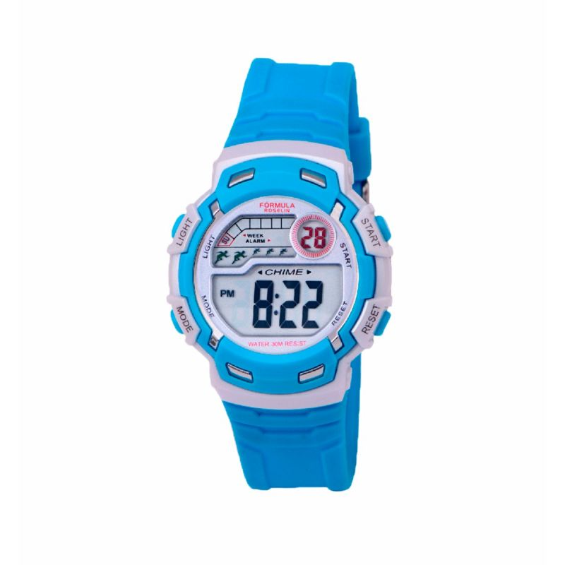 Reloj Digital Azul Claro Unisex Formula Roselin