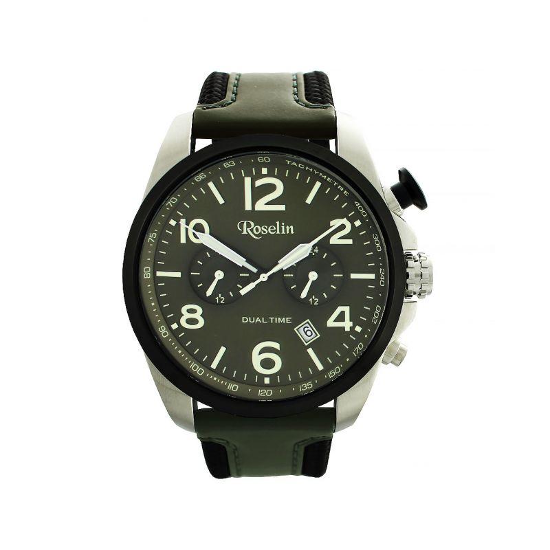 Reloj hombre acero y piel dual time Roselin Watches