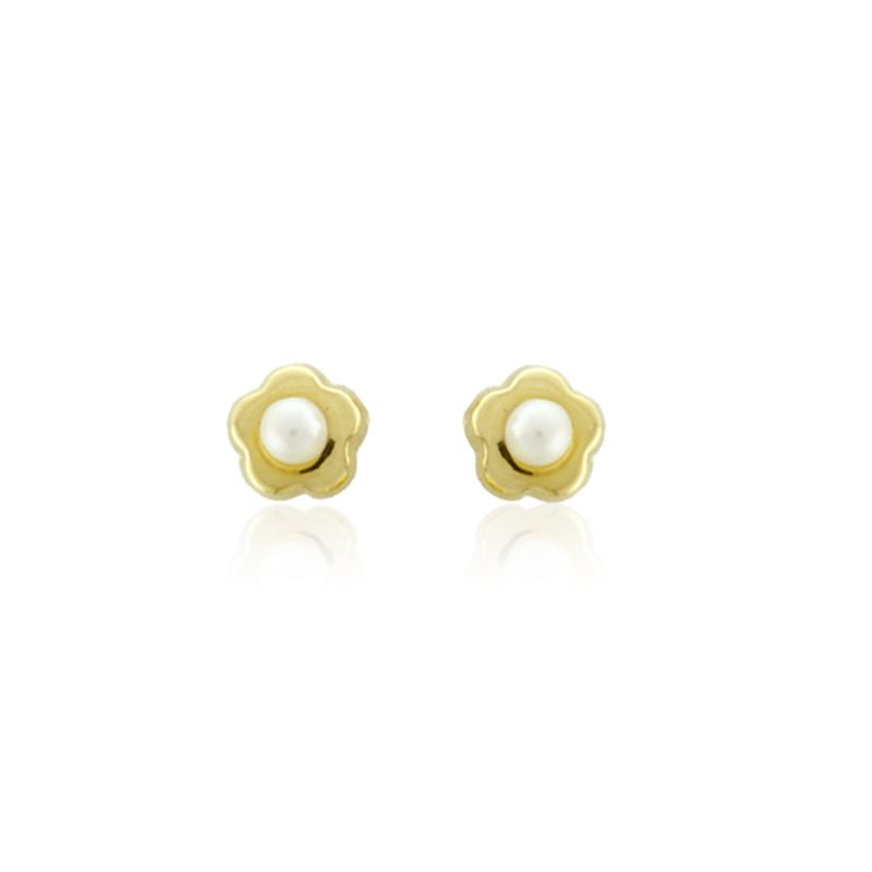 Pendientes Oro 18kts perla y flor