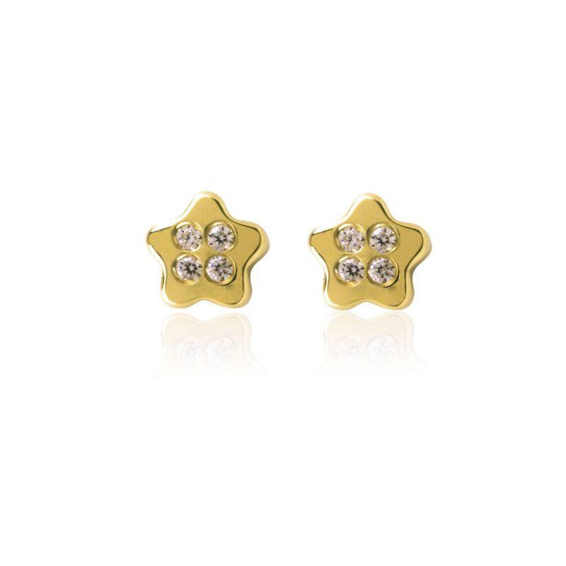 Pendientes Oro 18k Estrella circonitas