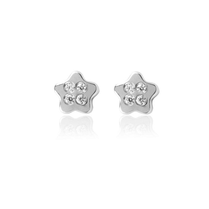 Pendientes Oro Blanco 18k Estrella circonitas