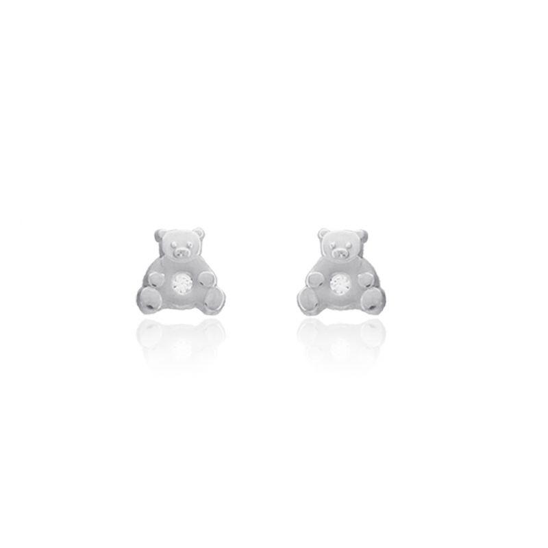 Pendientes Oro blanco 18k osos
