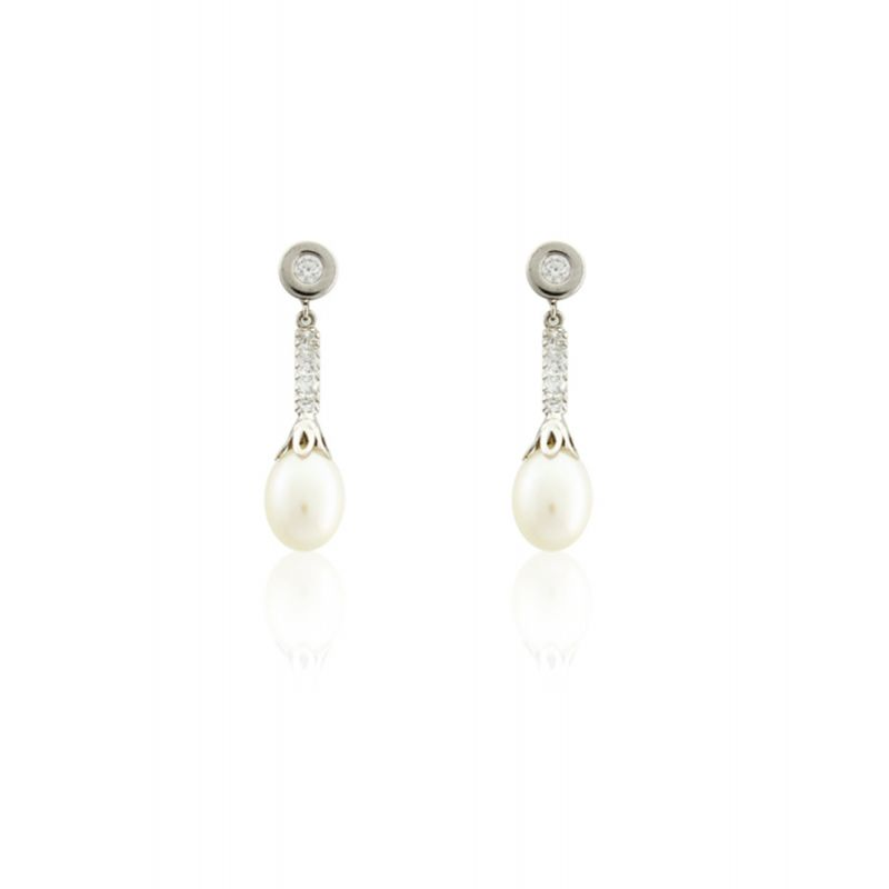 Pendientes perla y chatón Oro 18k