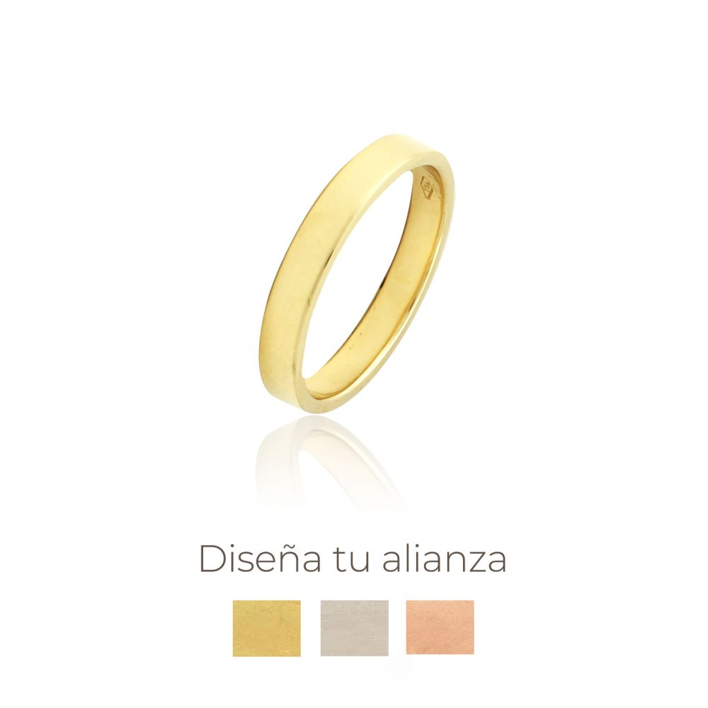 Alianza Oro Nº9 Plana 3 Mm Artesanal