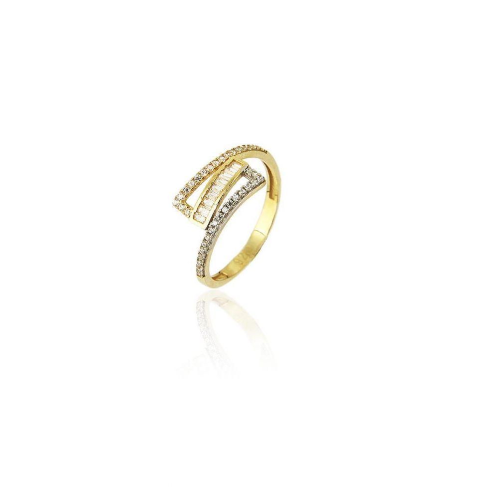 Anillo Oro 18k bicolor piedras