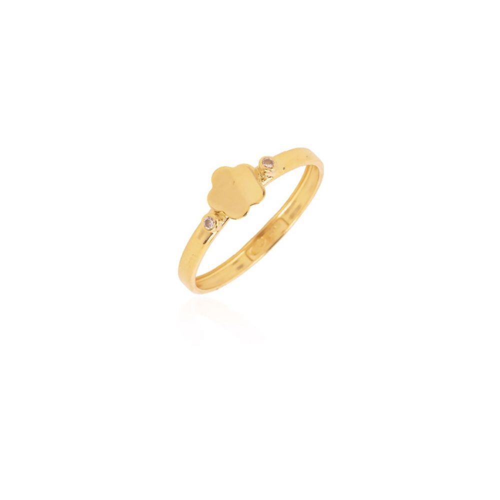 Anillo Oro 18k flor piedras