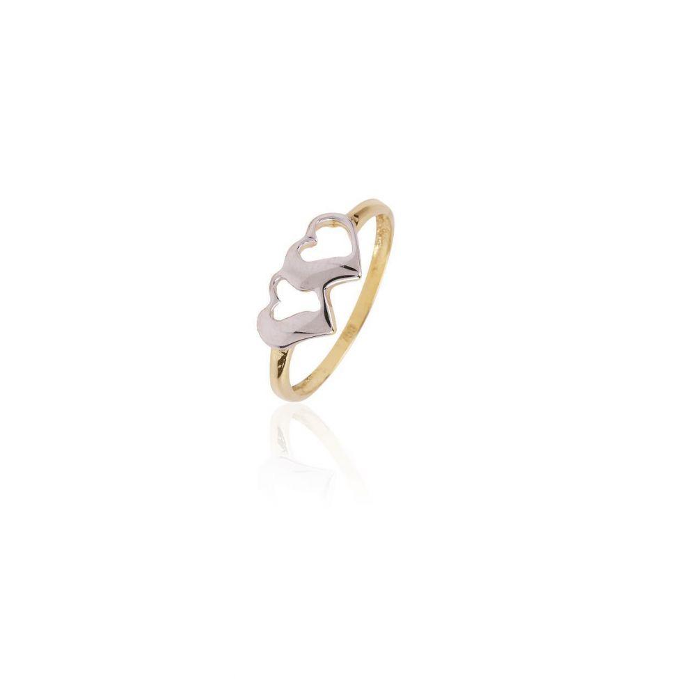 Anillo Oro 18k bicolor corazones