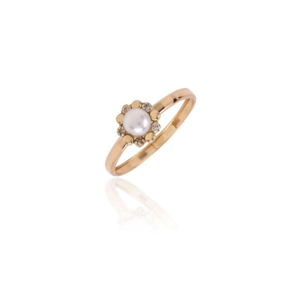 Anillo Oro 18k margarita circonita y perla