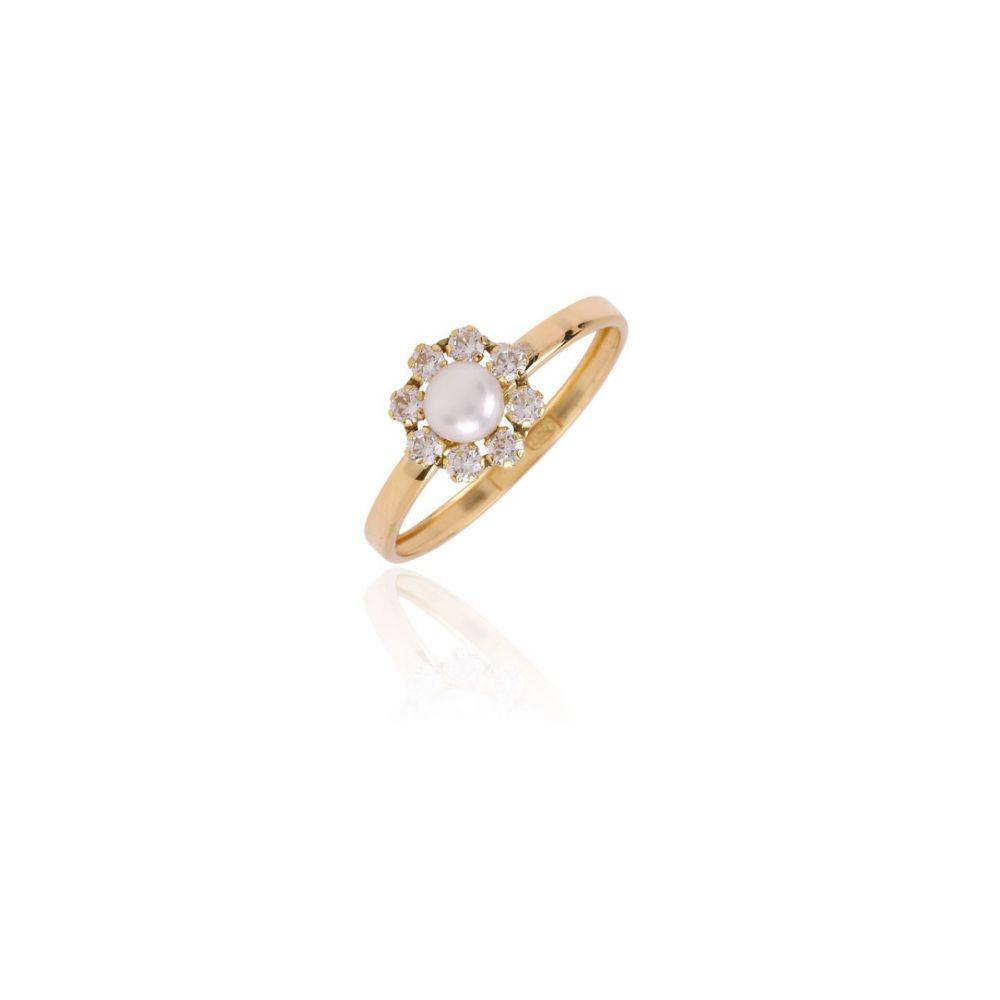 Anillo Oro 18k Flor perla-circonitas