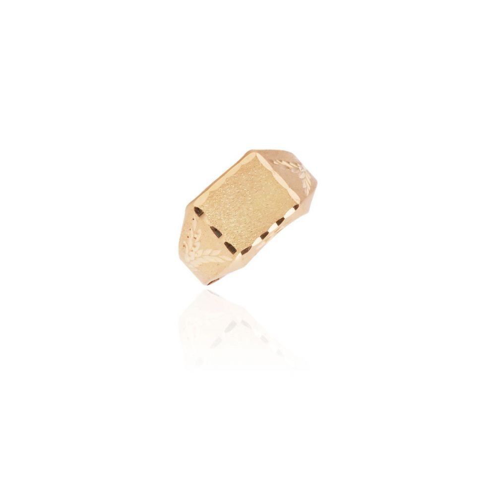 Sello rectangular lapidado oro 18k