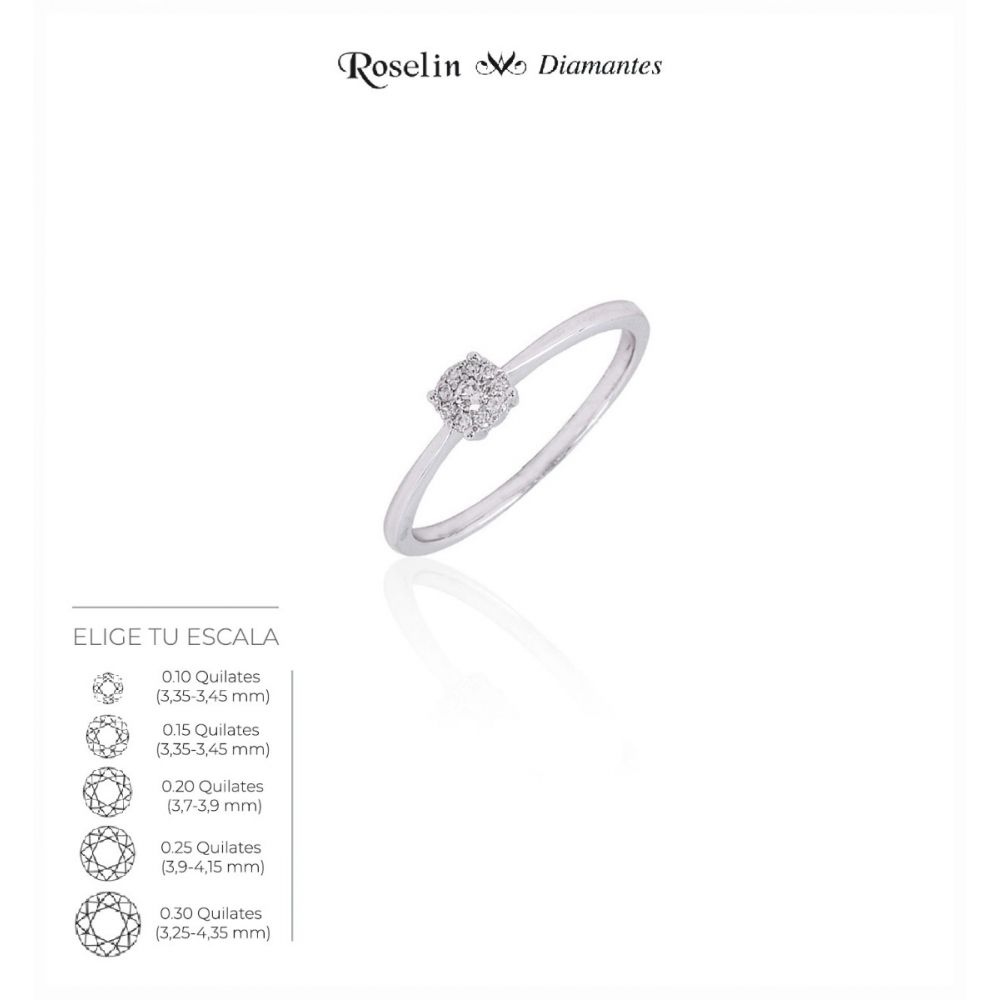 Solitario  Oro 18k Diamante Redondo. Elige tu escala