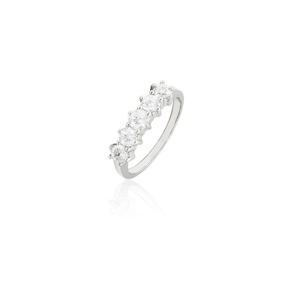 Anillo Oro blanco 18 kts y diamantes cinquillo
