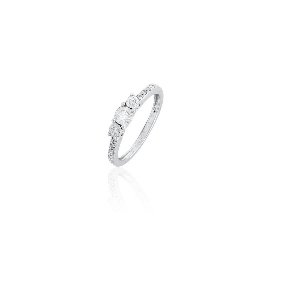 Anillo Oro blanco 18k y diamantes tresillo