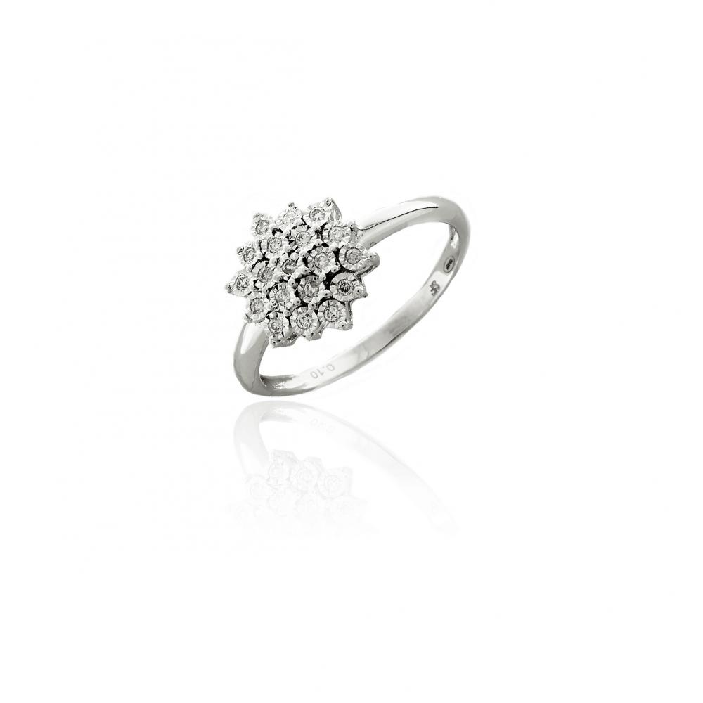 Anillo rosetón Oro blanco 18k y diamantes