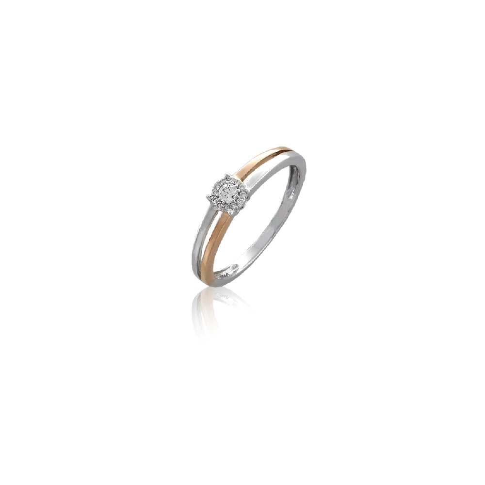 Anillo bicolor Oro 18k y diamantes