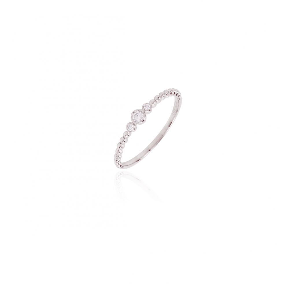 Anillo bolas Oro blanco 18 k y diamantes