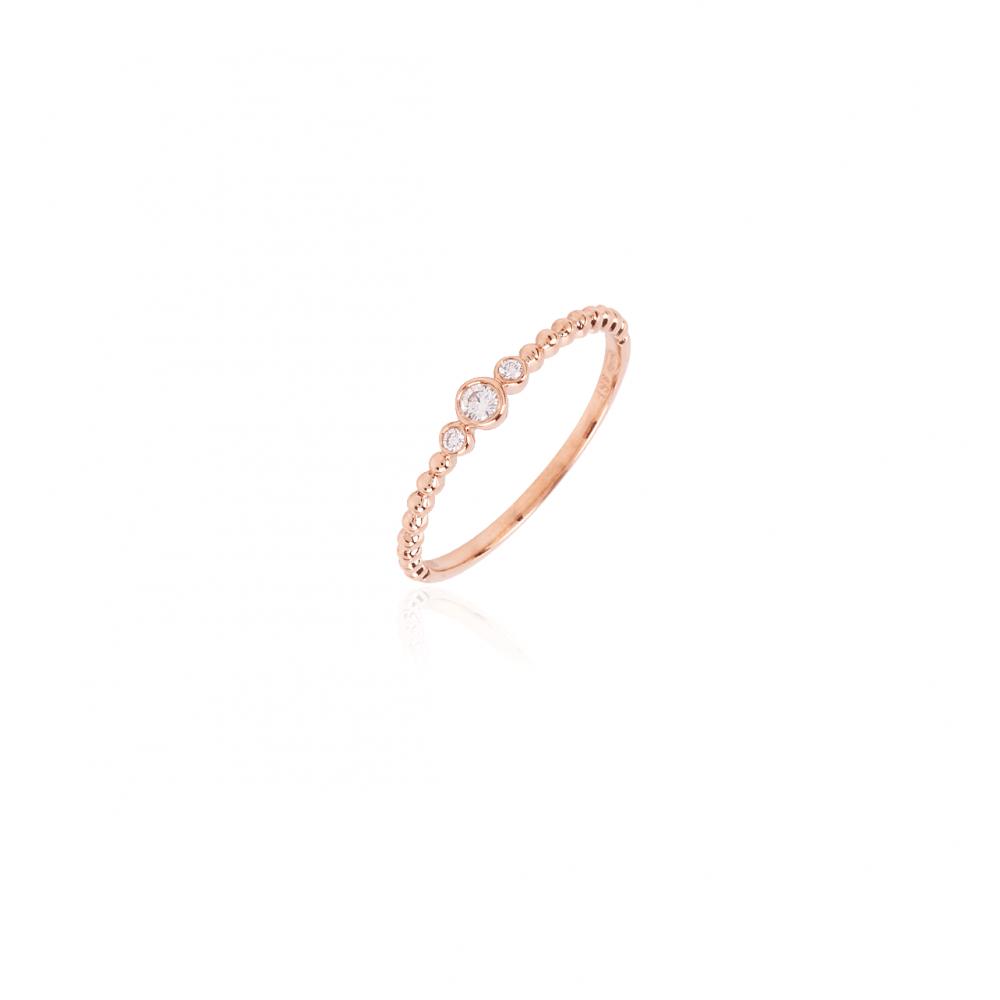 Anillo bolas Oro rosa 18k y diamantes