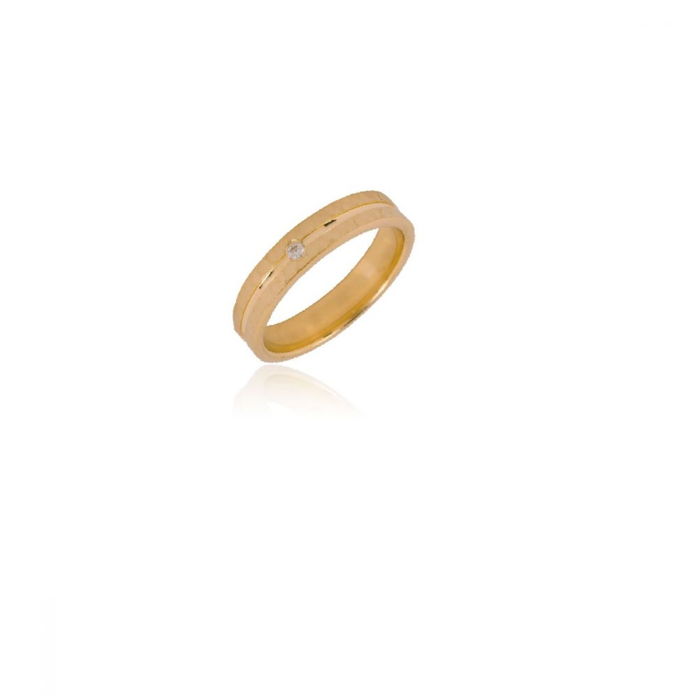 Alianza Oro ley 18k plana confort 4mm diamante