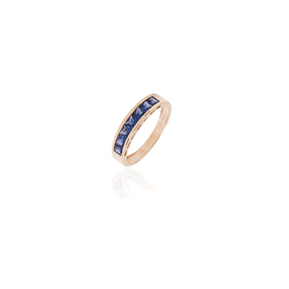 Anillo Oro 9k Piedra Azul Carril