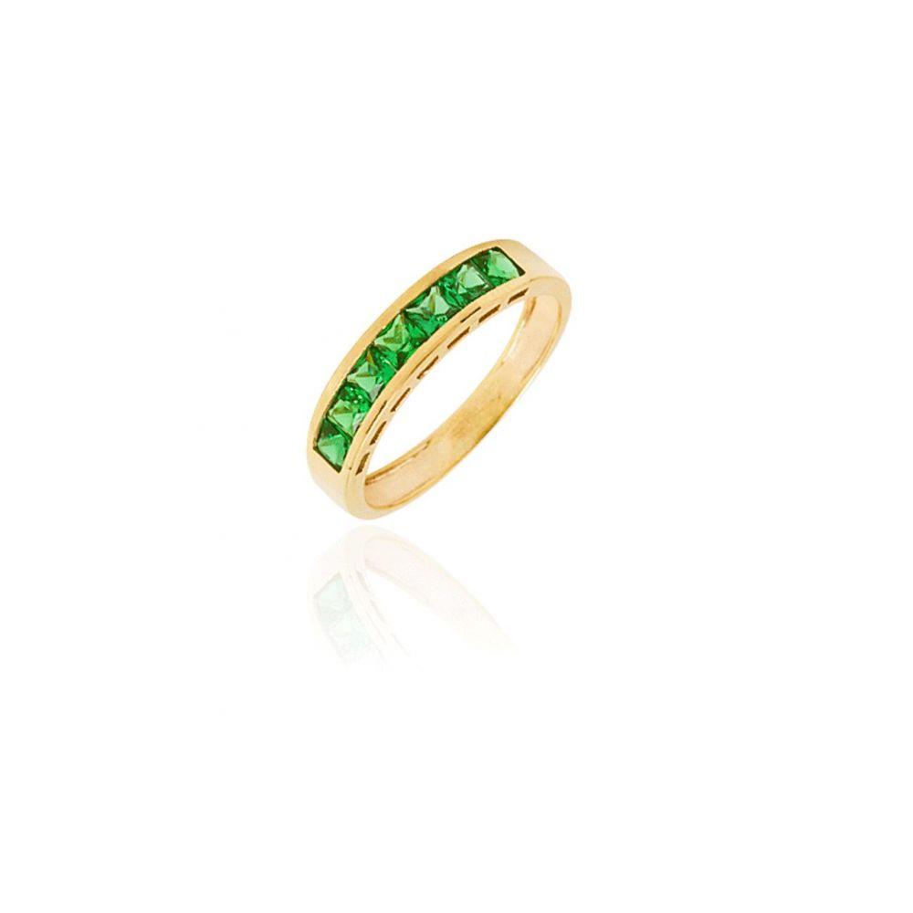 Sortija Oro 9k Carril Verde