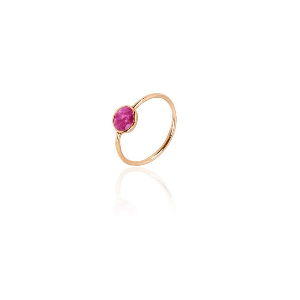 Anillo Oro 9k Magenta Color