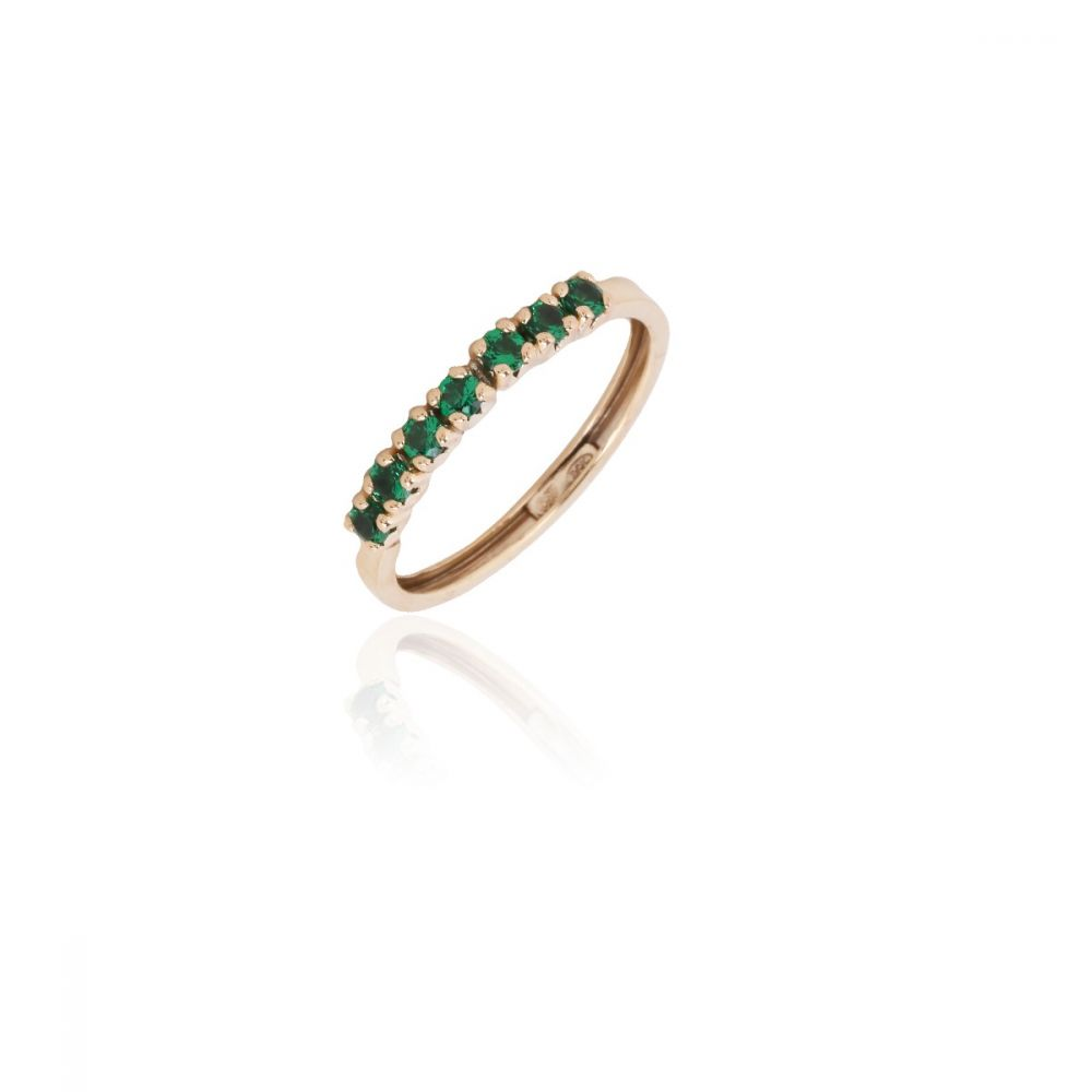 Anillo Oro 9k 7 circonitas verdes