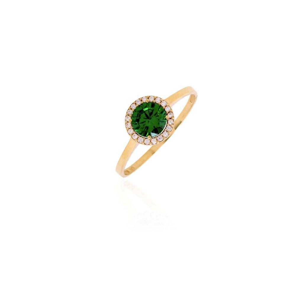Anillo Oro ley 9kts Circular piedra verde