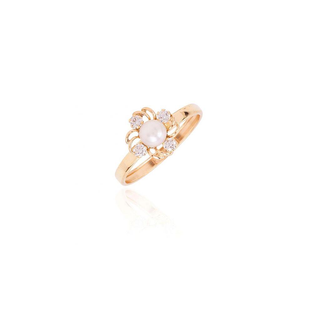 Anillo Oro 9k perla y circonitas trébol