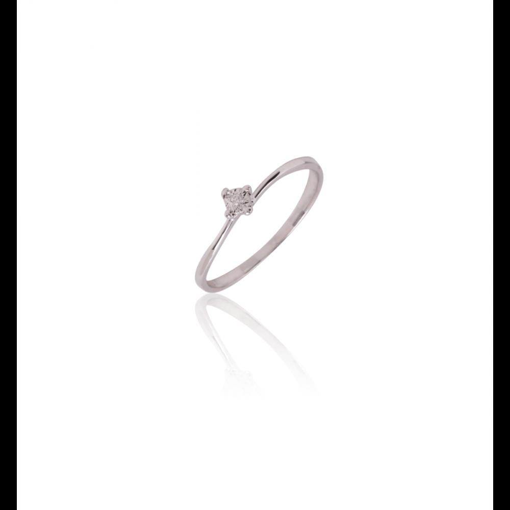Anillo Oro Blanco 9k y diamantes solitario
