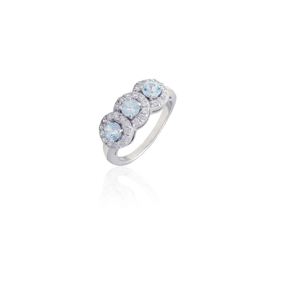Anillo plata triple piedra azul Luxilver