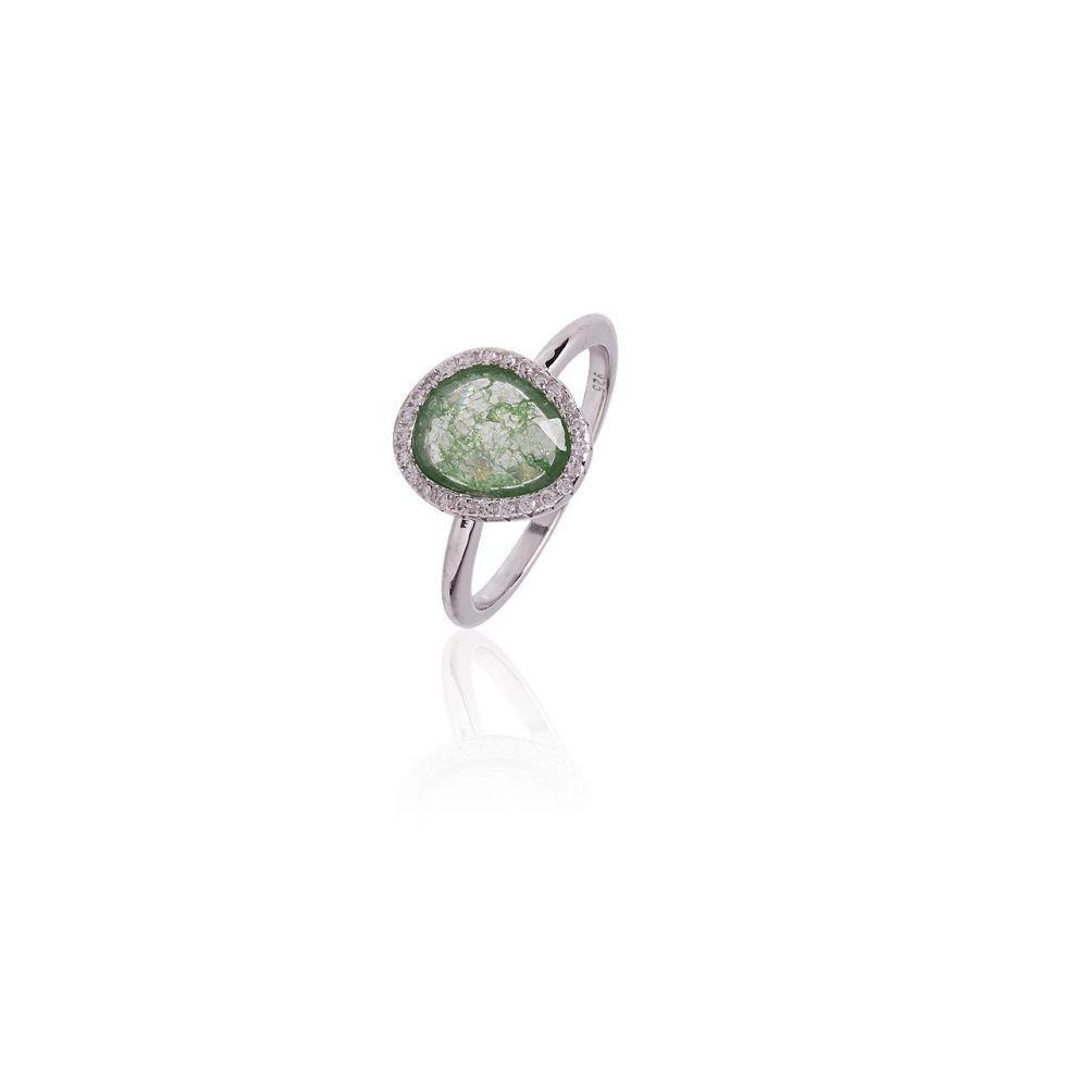 Anillo plata circonitas piedra verde Luxilver