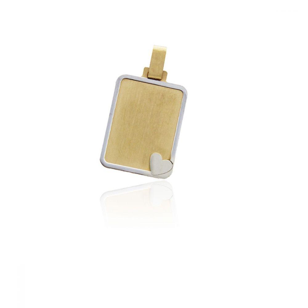 Colgante liso bicolor Oro 18k corazón