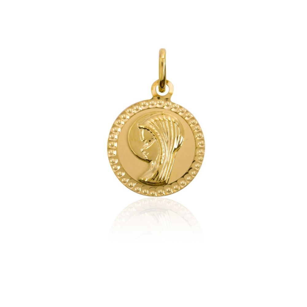 Medalla Oro 18k Virgen borde relieve