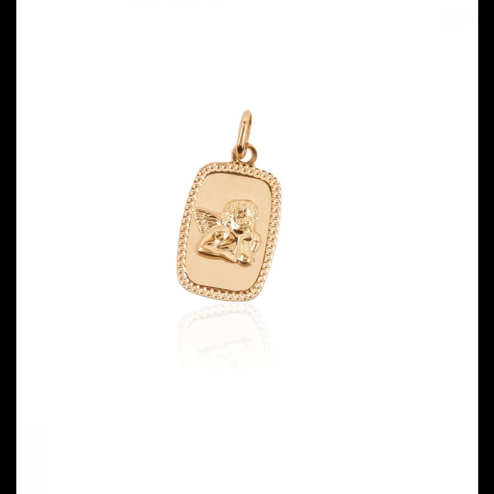 Colgante Oro 18k Medalla Angelito Rectangular