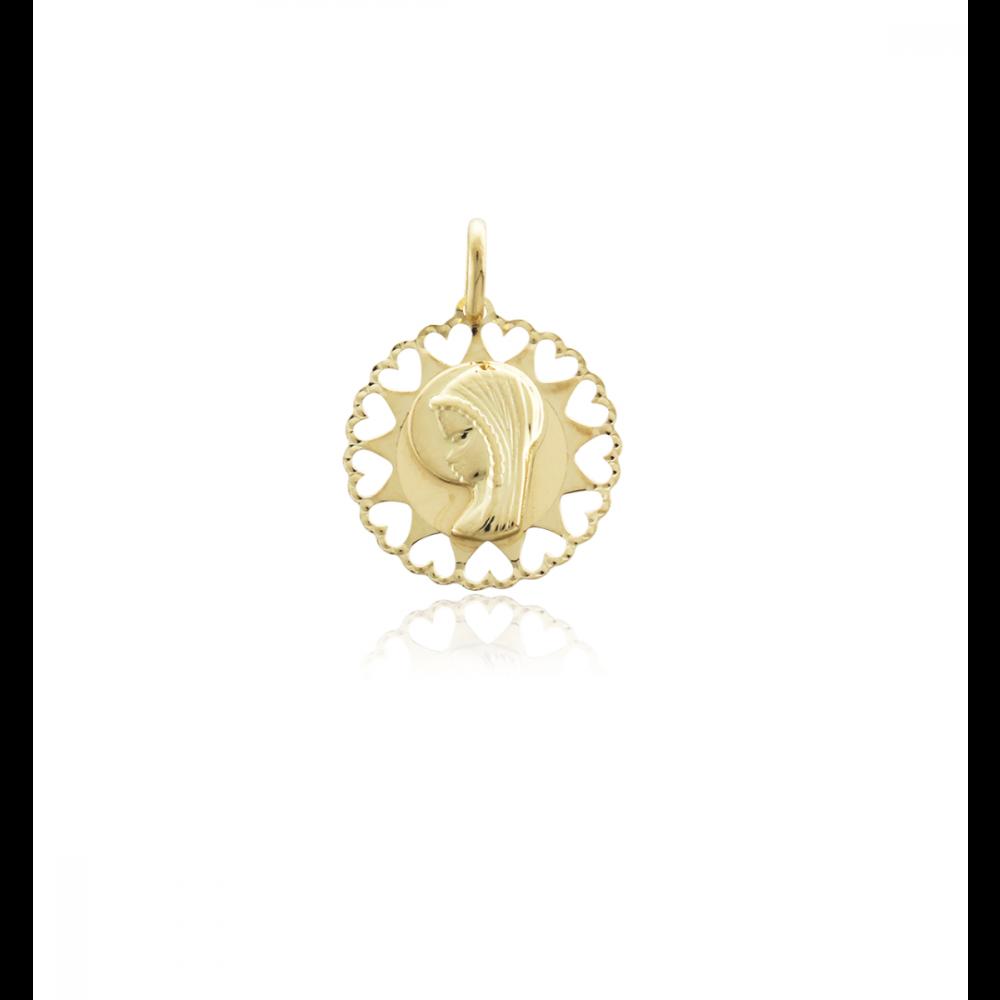 Medalla virgen niña corazones oro 18k