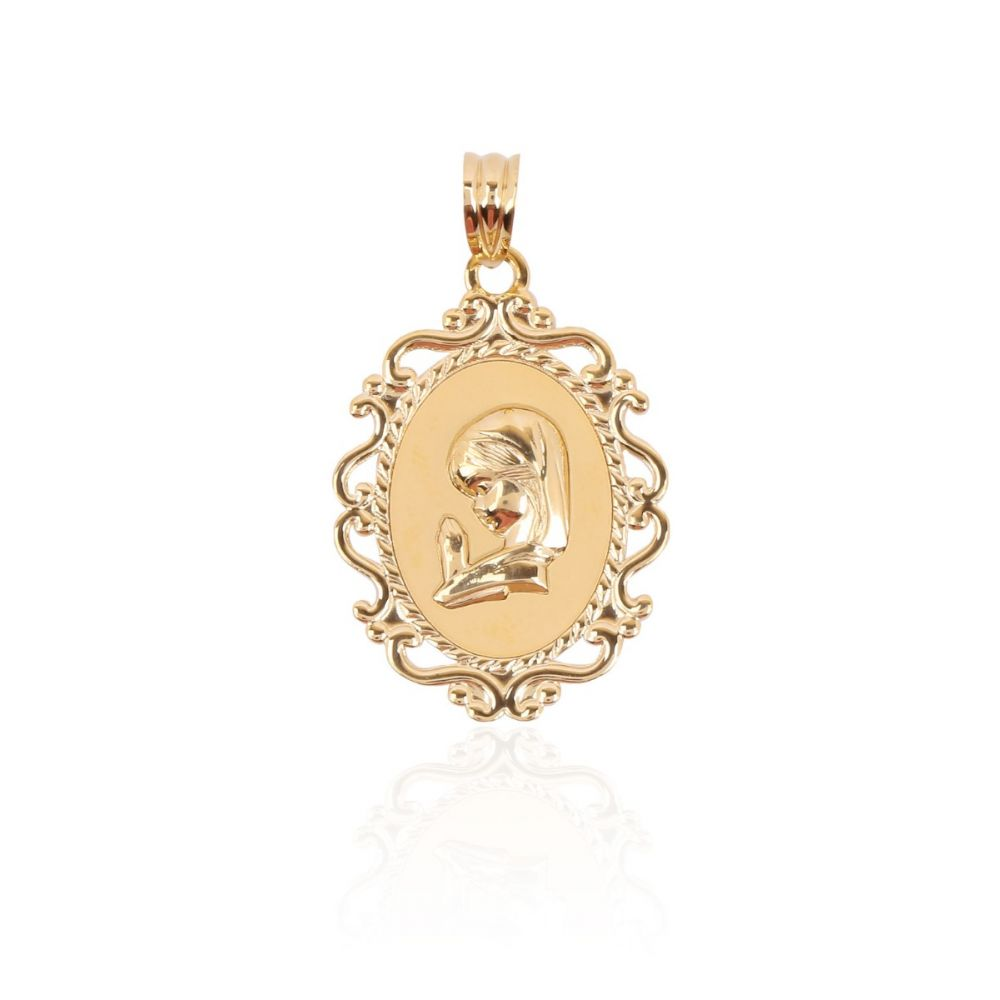 Medalla Oro 18k Virgen niña ornamentada