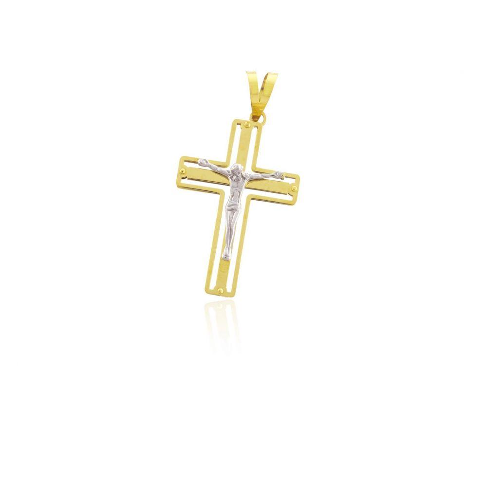 Colgante Oro 18 kts bicolor cruz Roselin