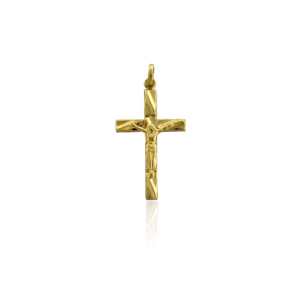 Colgante Oro 18K cuadrado Cristo relieve