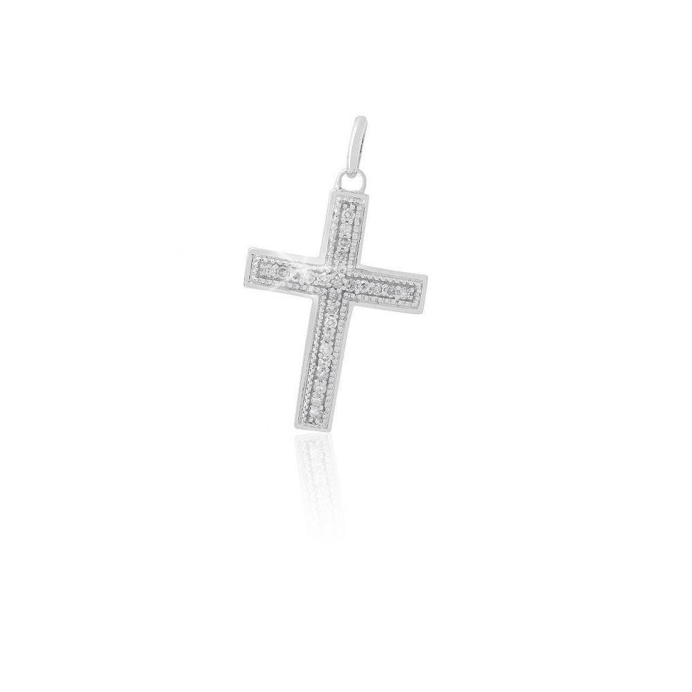 Colgante Oro blanco 18 kts y diamantes cruz