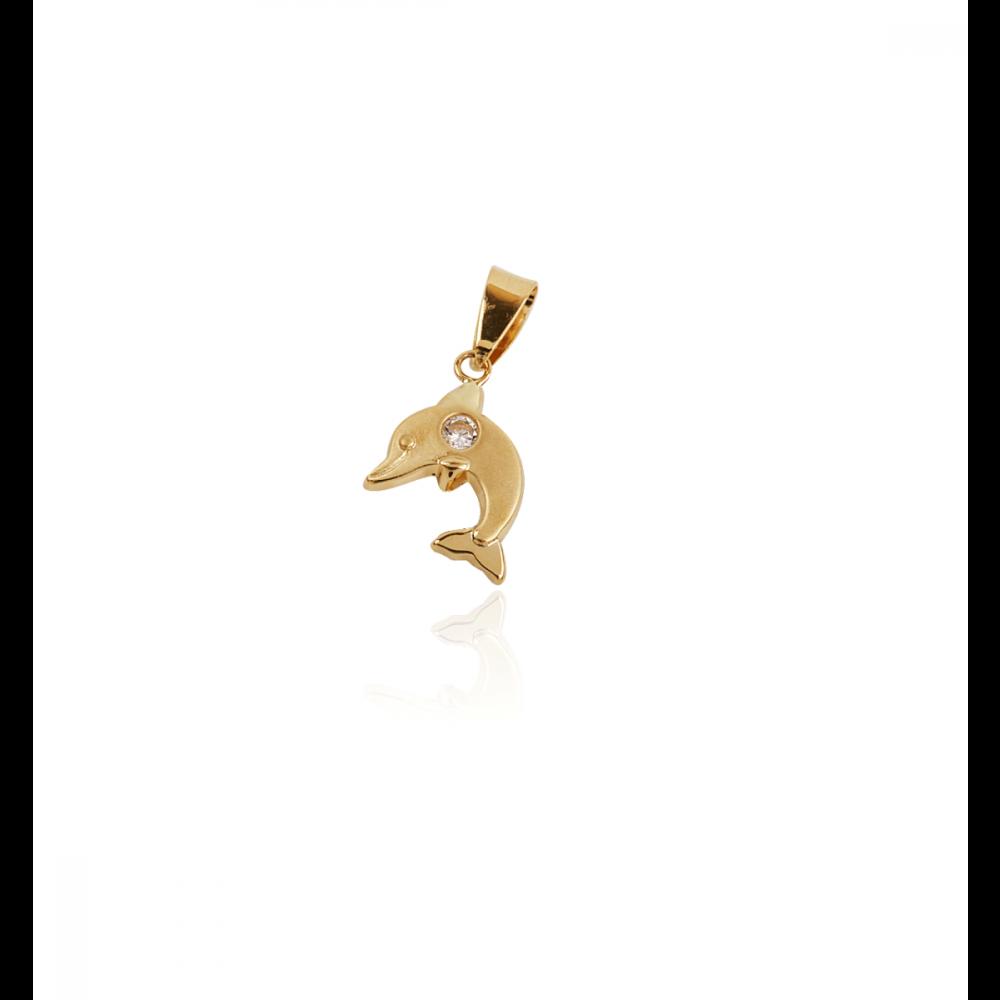 Colgante Delfin Piedra Oro 18k