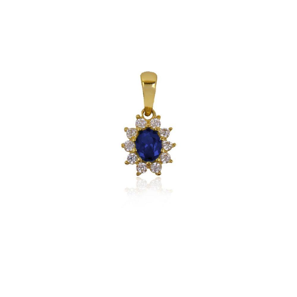 Colgante Oro 18k con piedra azul oval