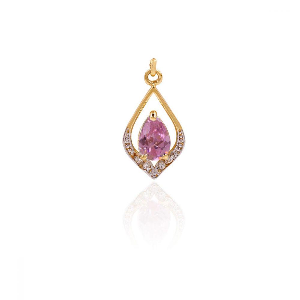Colgante Oro 18k Piedras Bicolor Rosa