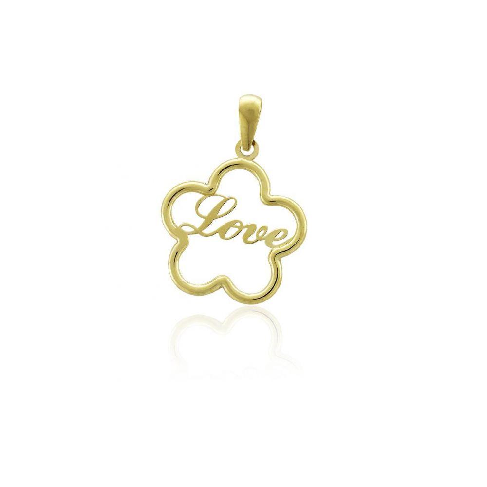 Colgante Oro 18k flor love Roselin
