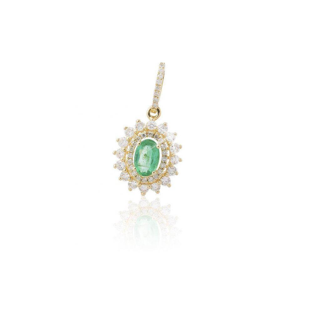 Colgante Oro 18kts diamantes y esmeralda