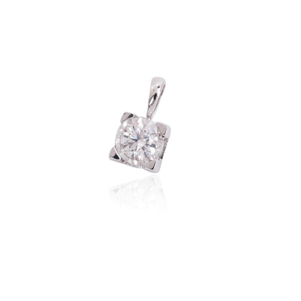 Colgante oro 18k diamante 4 garras