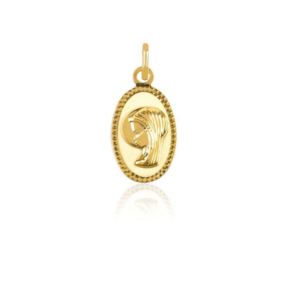 Medalla de Oro 9k Virgen ovalada lapidada