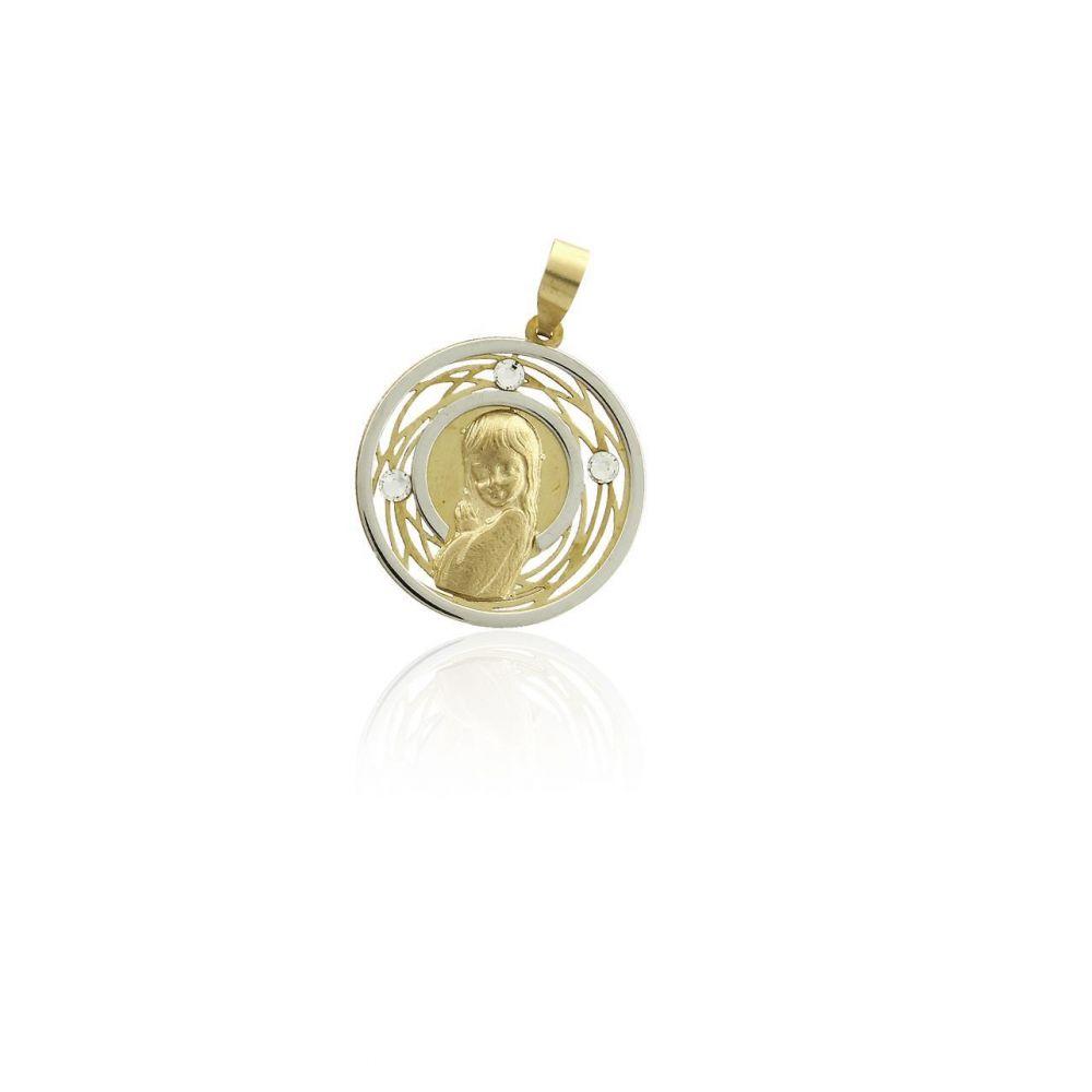 Colgante Oro 9k medalla calada virgen