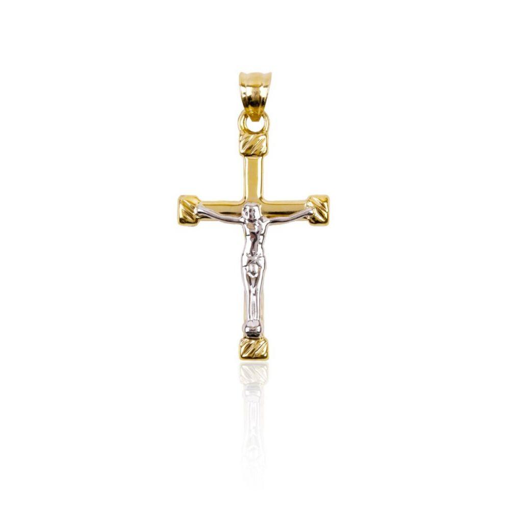 Cruz Oro 9k bicolor con cristo