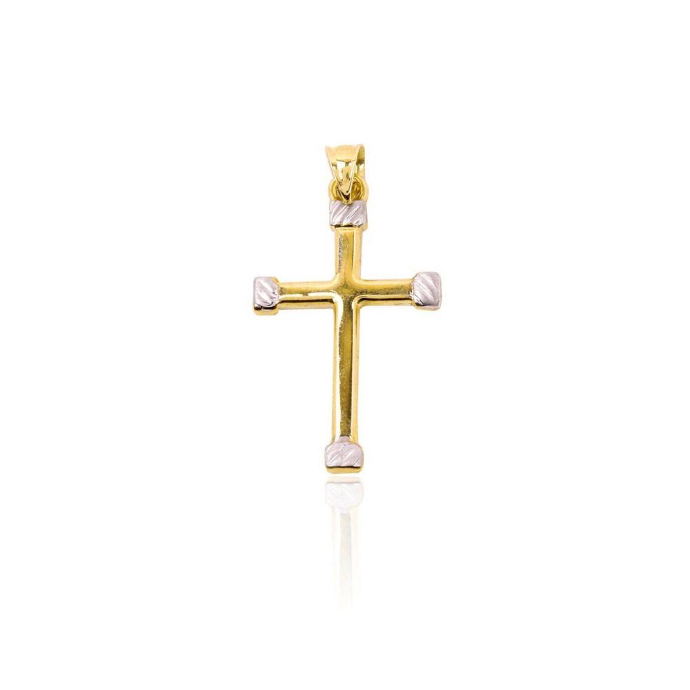 Cruz Oro 9k bicolor con terminales en oro blanco