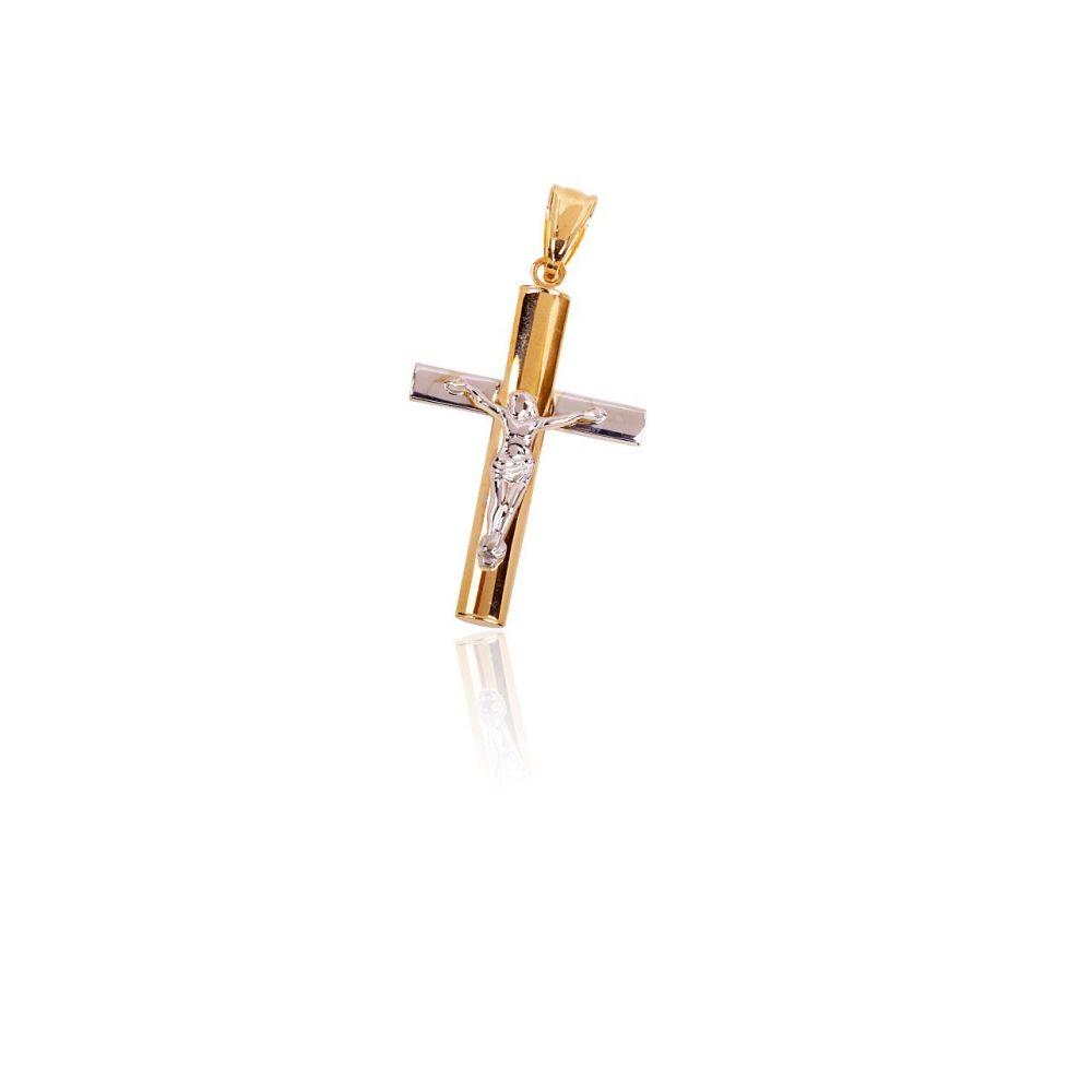 Colgante Oro 9k cruz bicolor